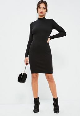 Black High Neck Rib Midi Dress