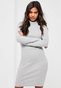 Grey High Neck Ribbed Mini Dress