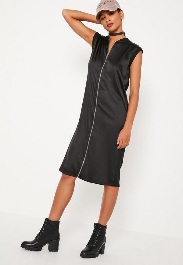 Black Zipped Satin Midi Dress