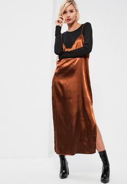 Bronze 2 in 1 Mesh Satin Maxi Dress