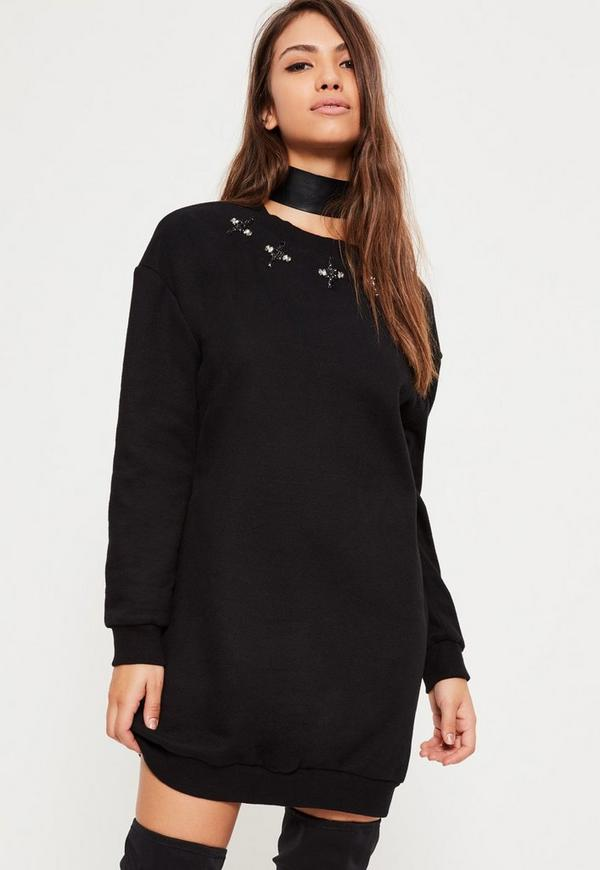 Black Embellished Neck Sweater Dress