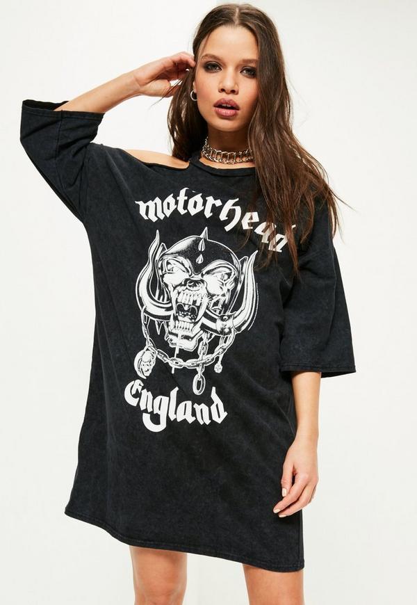 Black Motorhead Wash T Shirt Dress