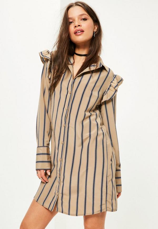 Nude Stripe Print Frill Shoulder Shirt Dress
