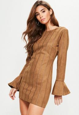 Tan Faux Suede Stitch Detail Bodycon Dress