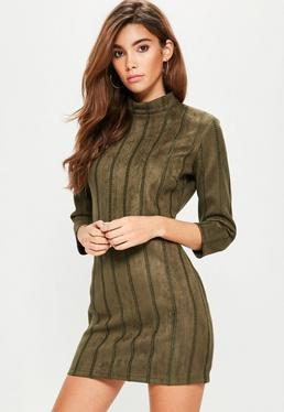 Khaki Faux Suede High Neck Bodycon Dress