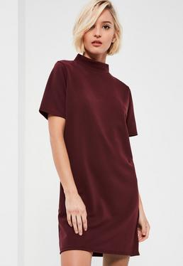 Burgundy High Neck Scuba Shift Dress