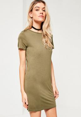Khaki Short Sleeve T-Shirt Dress