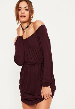 Burgundy Bardot Curve Hem Dress