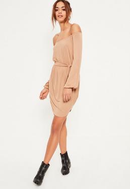Nude Bardot Curve Hem Dress