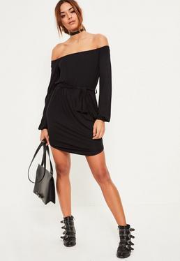 Black Bardot Curve Hem Dress