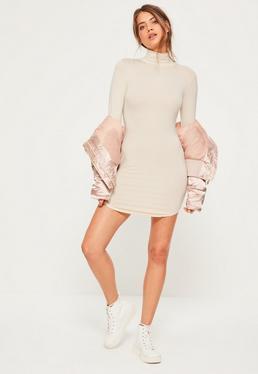 Cream Curve hem roll neck bodycon dress
