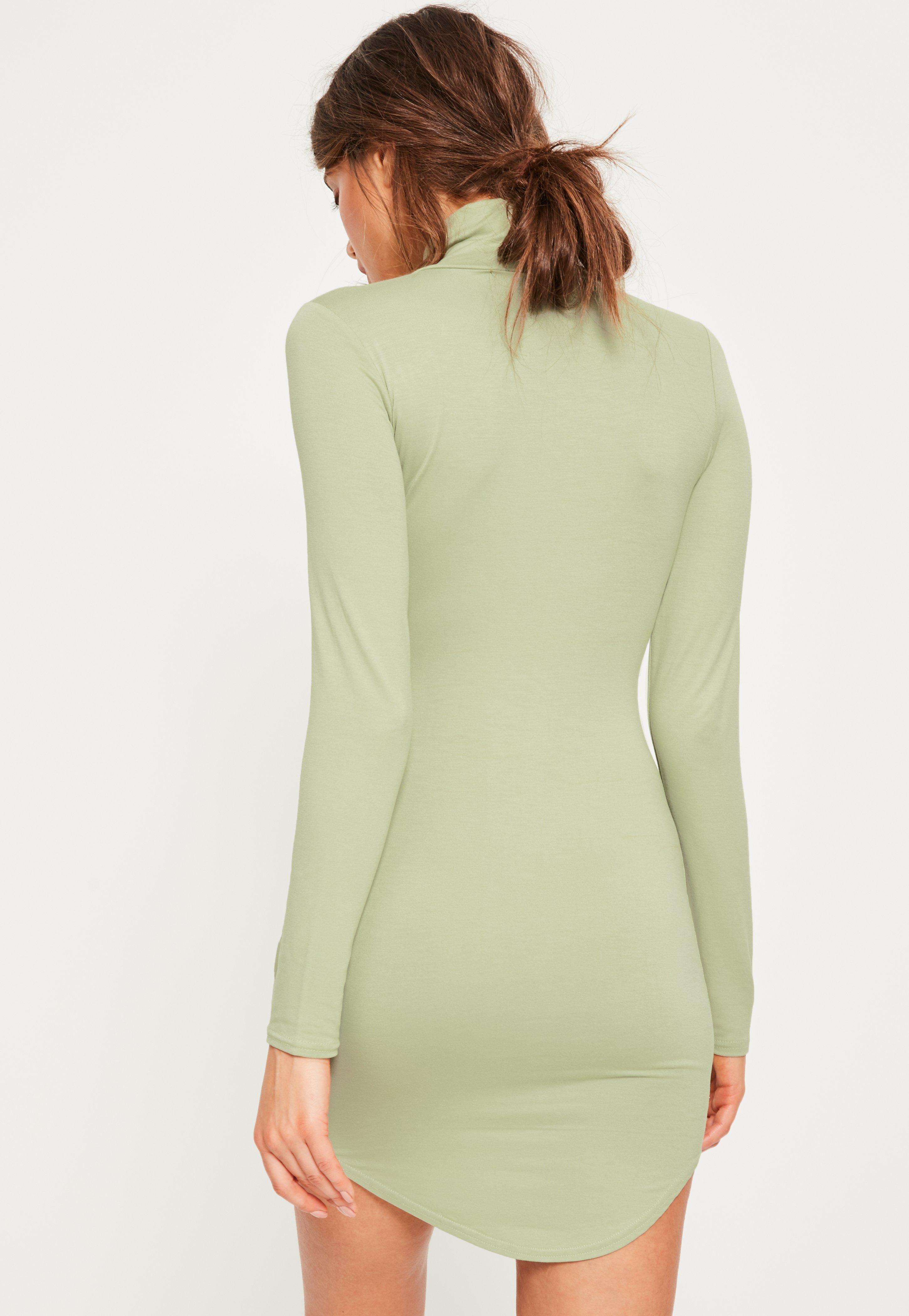 Green curve hem roll neck bodycon dress