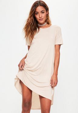 Robe T-shirt oversize blanche ourlet plongeant