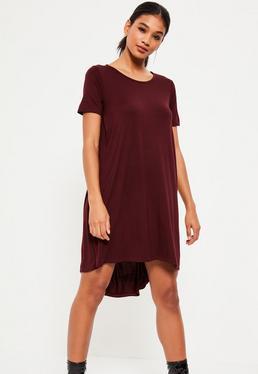 Burgundy Drop Back Swing Dress