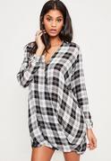 Black Check Wrap Dress