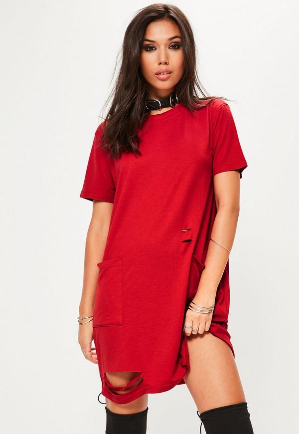 Red Distressed Pocket T Shirt Dress Missguided