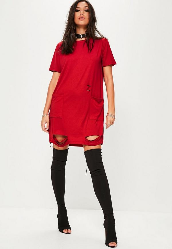 Red Distressed Pocket T-Shirt Dress | Missguided
