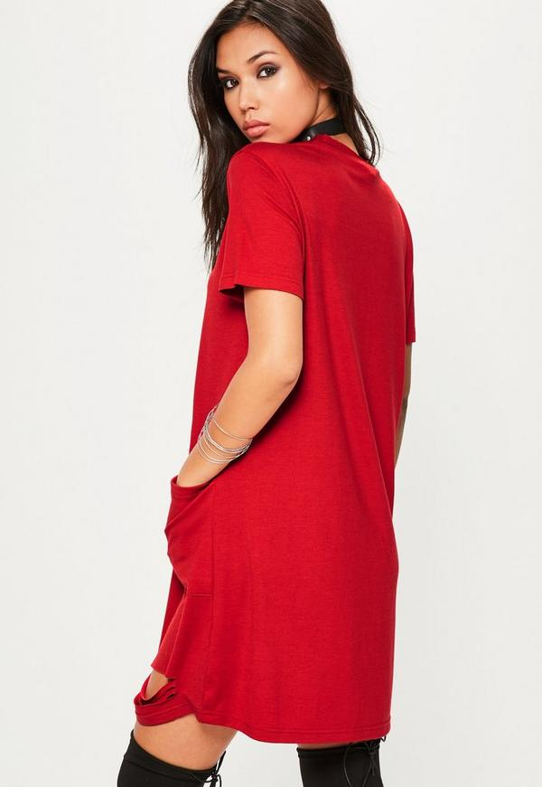 Red Distressed Pocket T-Shirt Dress - Missguided
