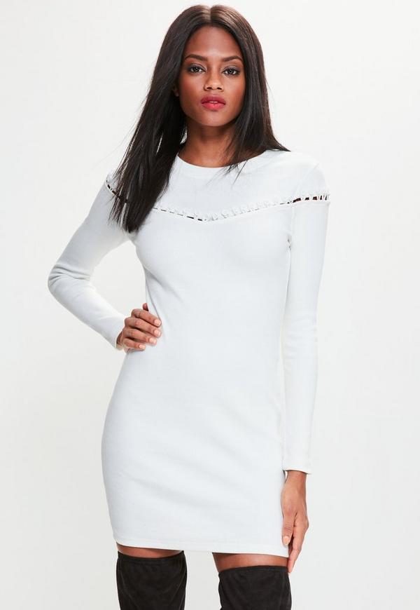 Cream Button Across Long Sleeve Bodycon Dress