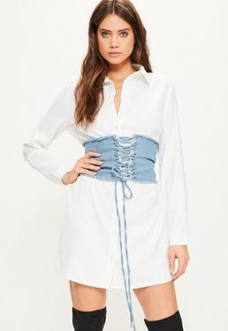 Robe-chemise blanche détail corset en denim