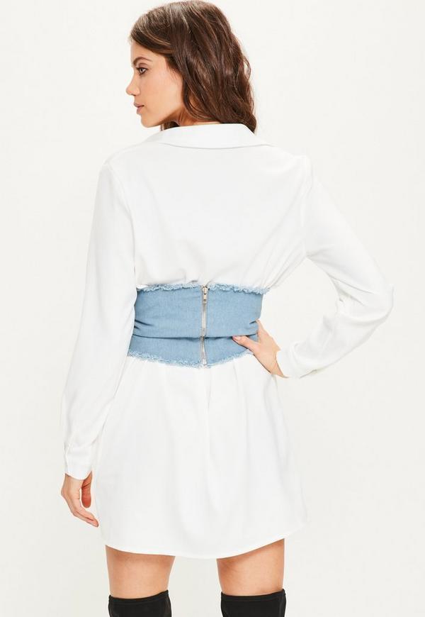 White Shirt Denim Detachable Corset Detail Dress | Missguided
