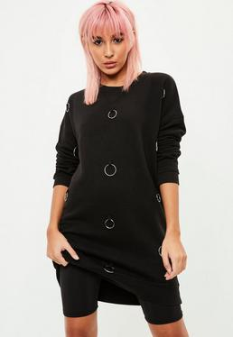 Black Metal Ring Detail Jumper Dress