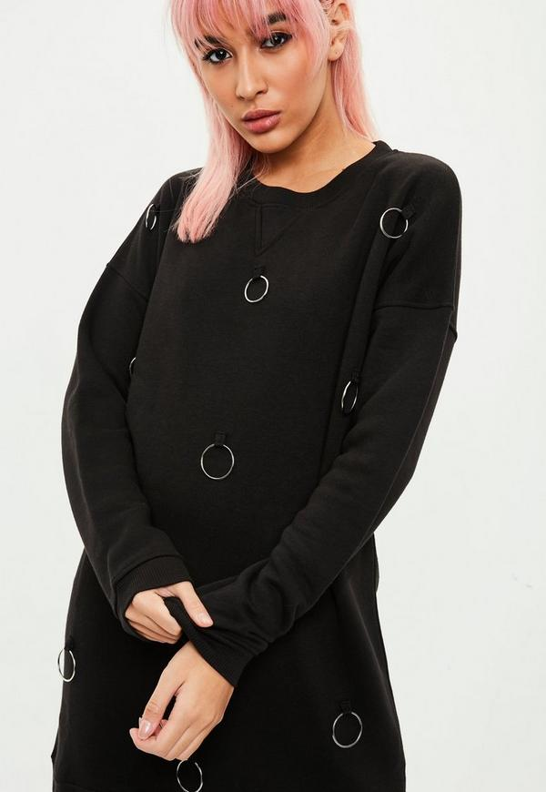 Black Metal Ring Detail Sweater Dress Missguided