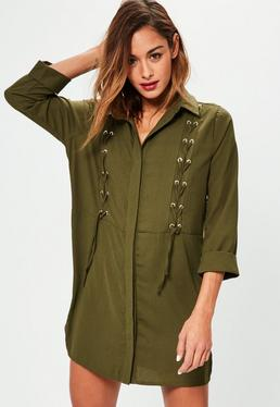 Khaki Lace Up Front Shirt Dress