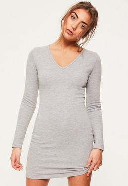 Grey V Neck Bodycon Dress
