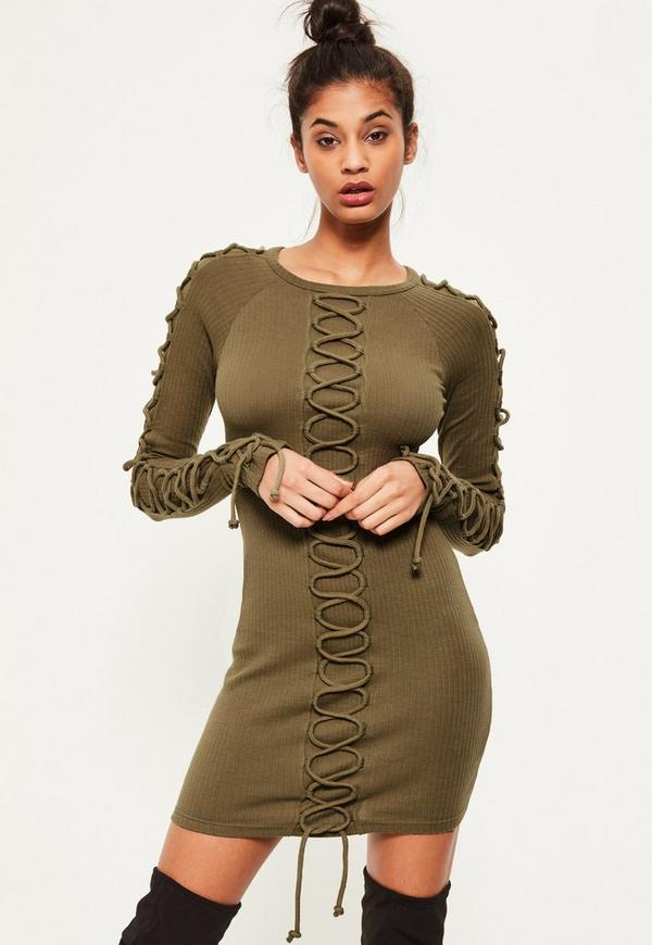 Khaki Lace Up Detail Ribbed Bodycon Dress