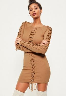 Camel Lace Up Detail Ribbed Bodycon Dress