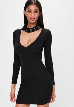 Black Eyelet Choker Neck Bodycon Dress