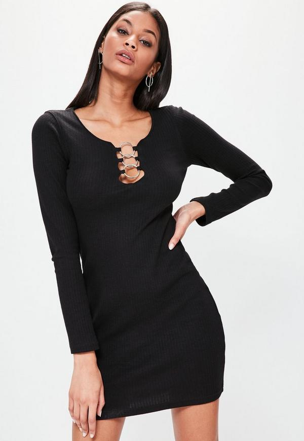 Black Circle Detail Bodycon Dress