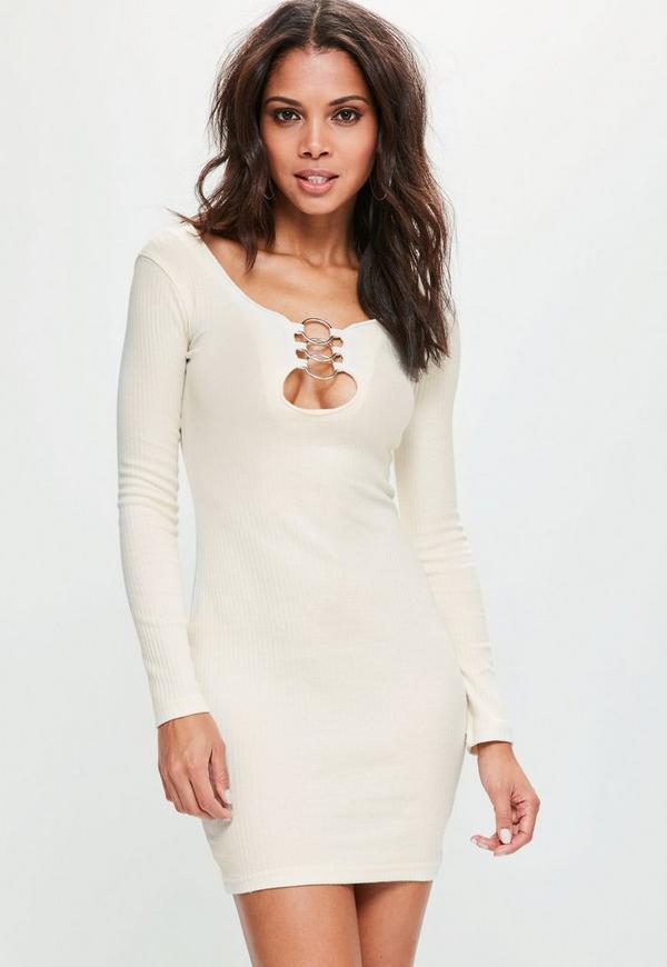 White Circle Detail Bodycon Dress