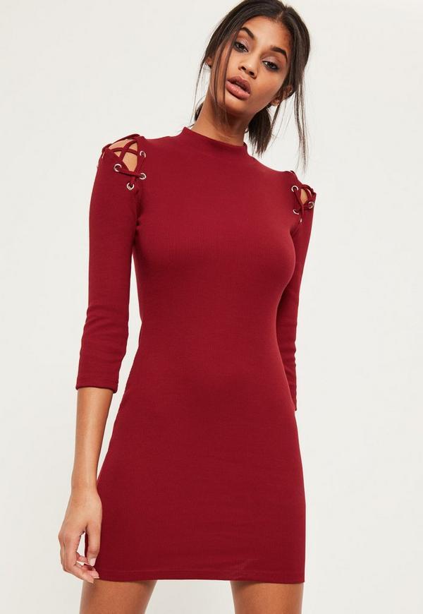 Burgundy 3/4 sleeve strap shoulder bodycon dress