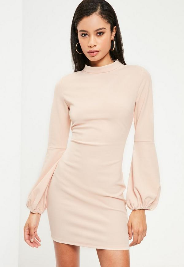 Pink High Neck Puff Sleeve Bodycon Dress