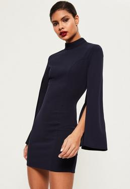 Navy Split Sleeve High Neck Bodycon Dress