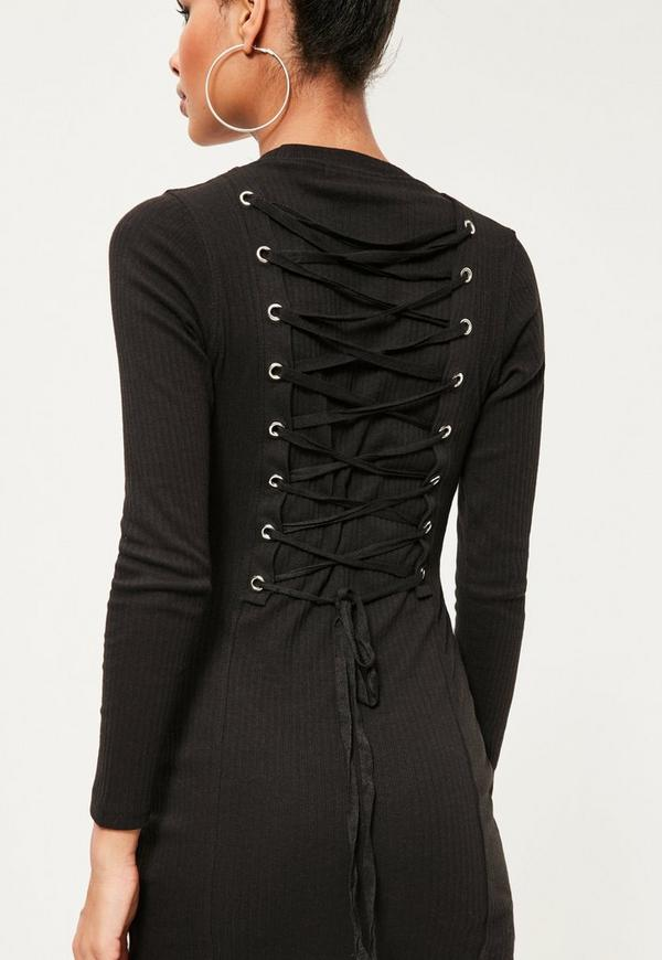 Black Corset Back Bodycon Dress | Missguided