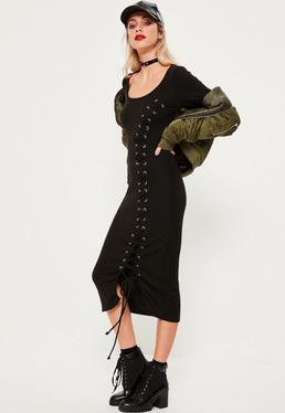 Black Eyelet Rib Midi Dress