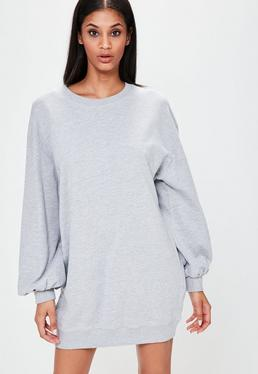 Grey Balloon Sleeve Jumper Dress