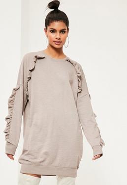 Khaki Frill Sleeve Sweater Dress