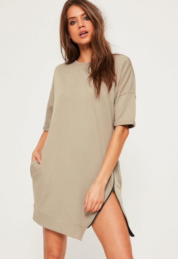 Khaki Asymmetric Zip Sweater Dress