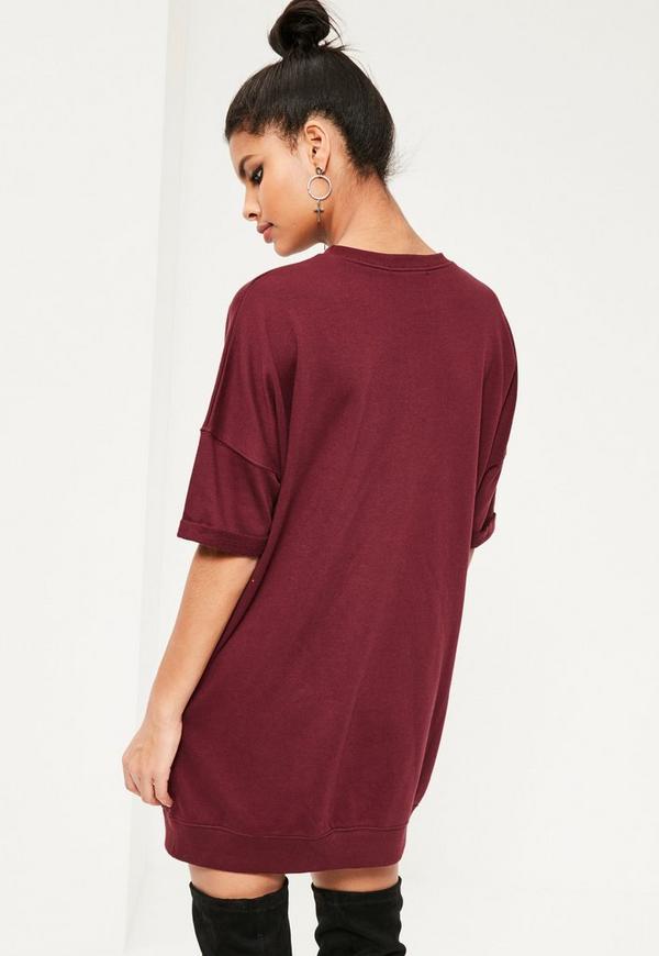 Burgundy Asymmetric Zip Sweater Dress