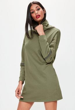 Khaki Zip Sleeve High Neck Jumper Dress