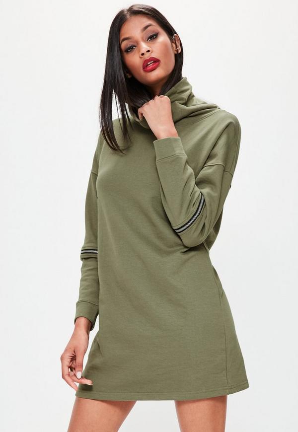 khaki zip sleeve high neck sweater dress