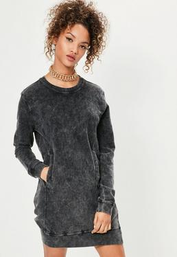 Grey Wash Pocket Oversized Jumper Dress
