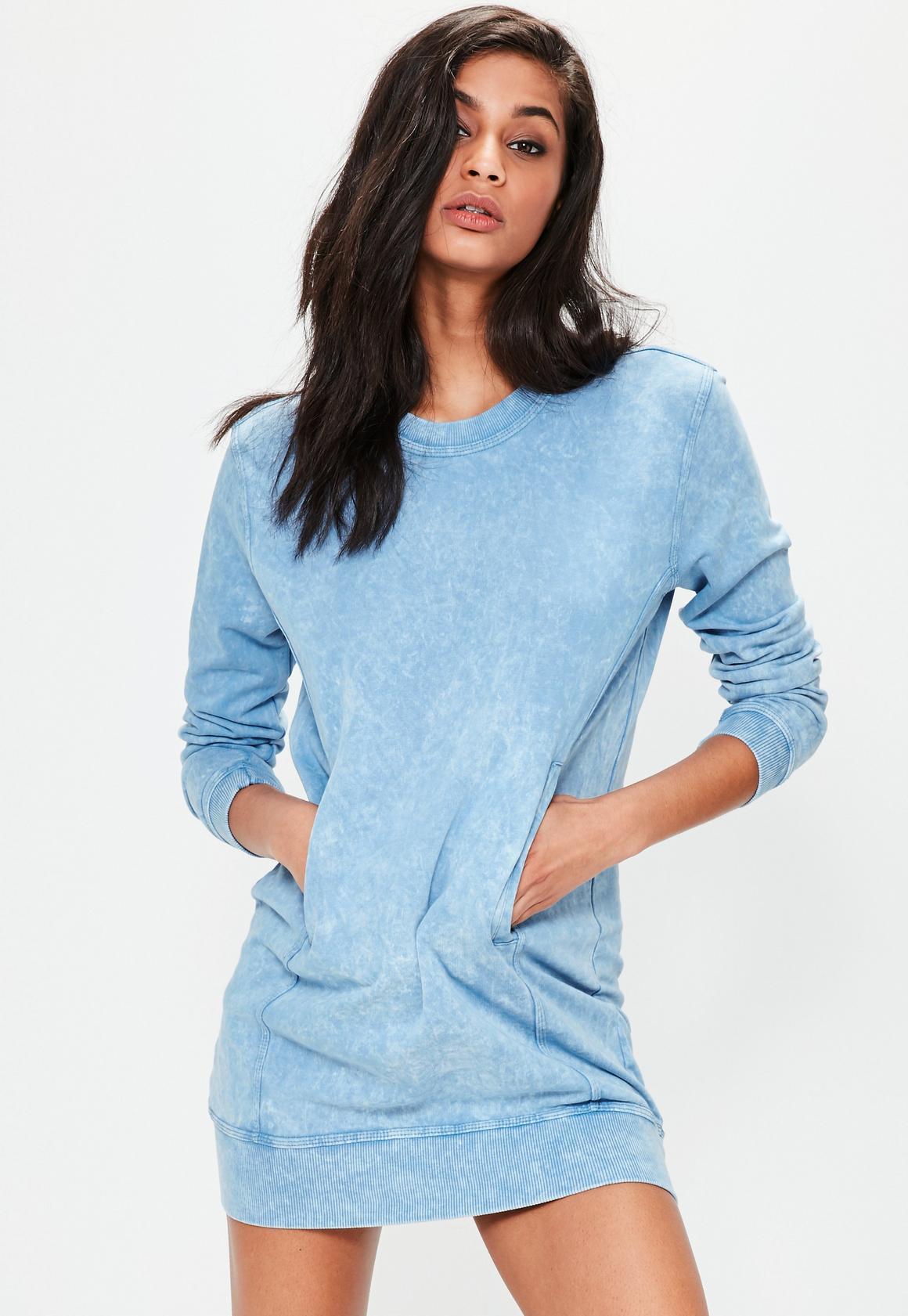 Blue denim wash pocket oversized sweater dress | Missguided
