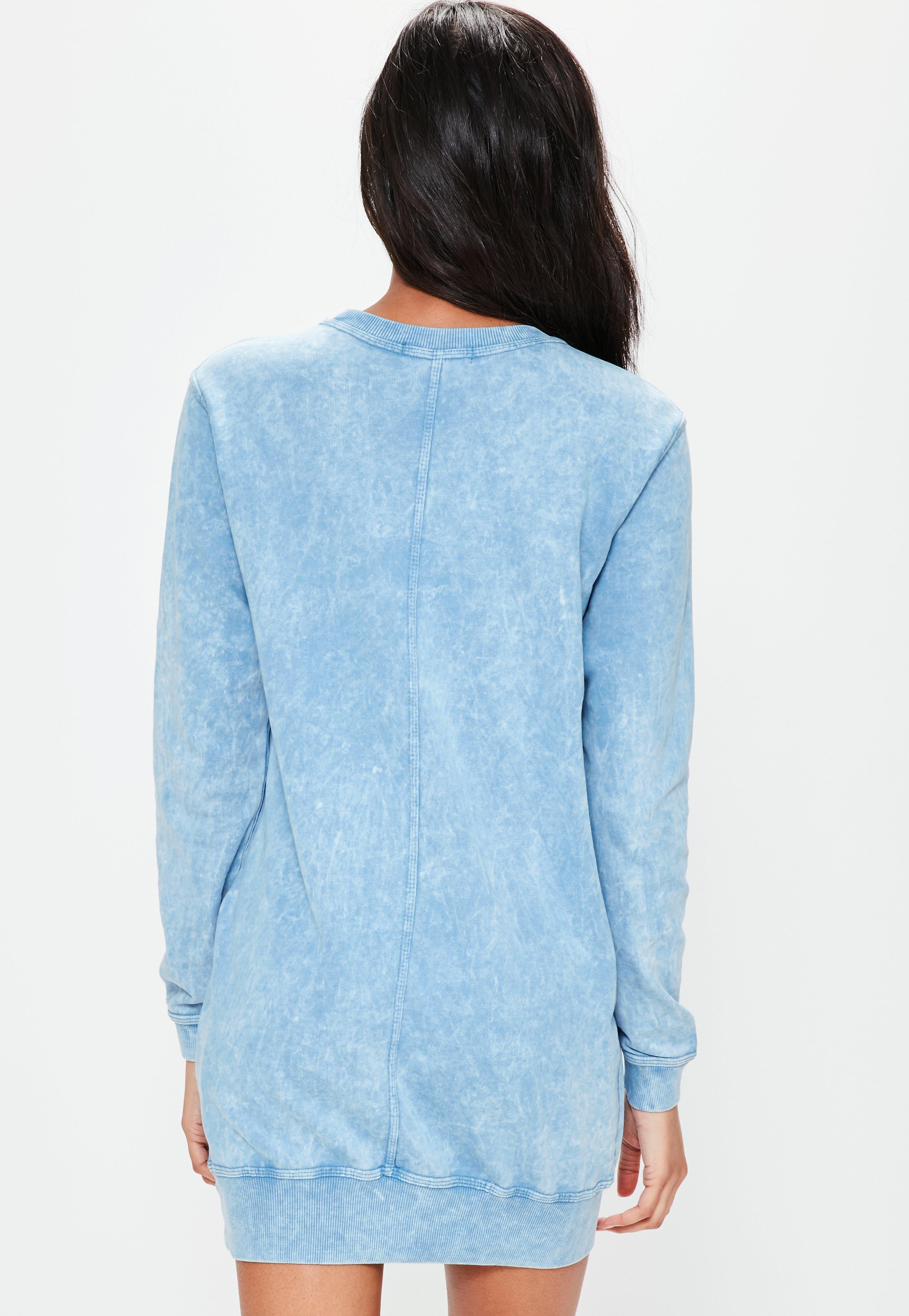 Blue denim wash pocket oversized jumper dress