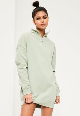 Green Zip Neck Jumper Dress