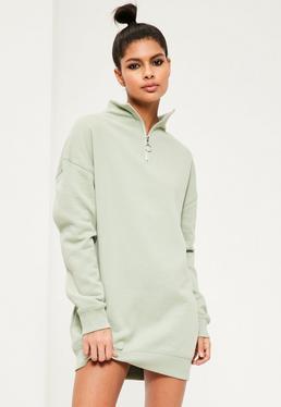 Green Zip Neck Jumper Dress